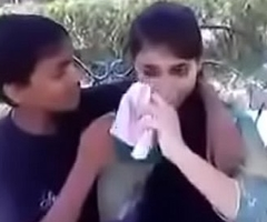 Indian teen giving a kiss and pressing boobs in public