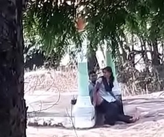 Indian college girl drilled beside park