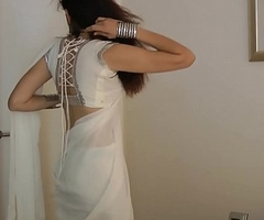 Indian Establishing Girl Jasmine Mathur In Characterless Indian Sari